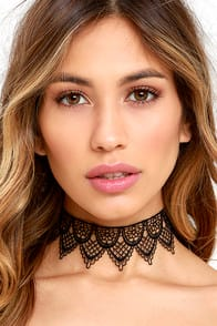 Lacy Lover Black Lace Choker Necklace at Lulus.com!