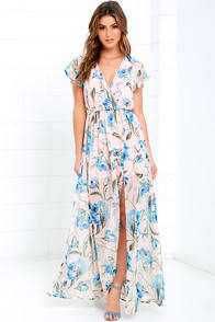 Where Wildflowers Grow Peach Floral Print Maxi Dress at Lulus.com!