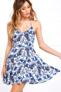 Wonderful Ways Ivory and Blue Print Skater Dress at Lulus.com!