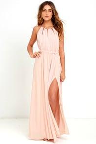 Gleam and Glide Blush Pink Maxi Dress at Lulus.com!