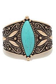 Reign Forest Turquoise and Gold Bracelet at Lulus.com!