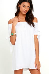 Al Fresco Evenings Ivory Off-the-Shoulder Dress at Lulus.com!