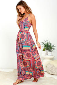 Sunrise to Sunset Coral Pink Print Maxi Dress at Lulus.com!