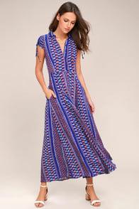I'm Worth It Royal Blue Print Midi Dress at Lulus.com!