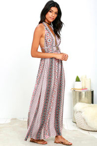 Truth Be Told Ivory and Rust Red Print Halter Maxi Dress at Lulus.com!