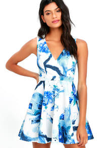 Calligraphy Fonts Blue and Ivory Print Skater Dress at Lulus.com!