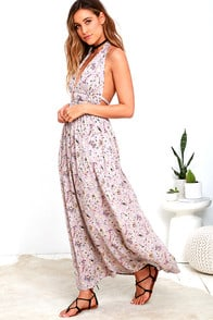 Truth Be Told Mauve Print Halter Maxi Dress at Lulus.com!