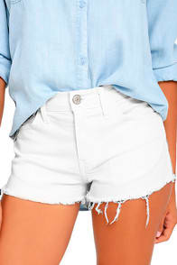 OFF-ROAD WHITE CUTOFF DENIM SHORTS at Lulus.com!