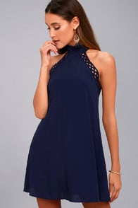 Any Sway, Shape, or Form Navy Blue Lace Halter Dress at Lulus.com!