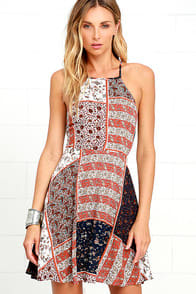 Sunflower Days Rust Red Print Skater Dress at Lulus.com!