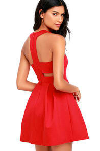 Cutout and About Red Skater Dress at Lulus.com!