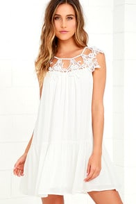Unforgettable White Lace Dress at Lulus.com!