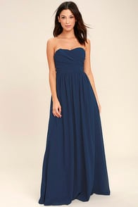 All Afloat Navy Blue Strapless Maxi Dress at Lulus.com!
