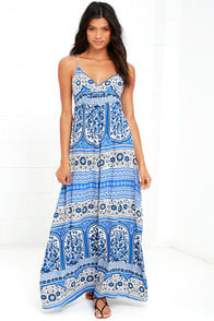 Secret Cities Blue Print Maxi Dress at Lulus.com!