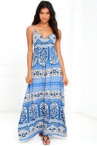Secret Cities Blue Print Maxi Dress at Lulus.com!