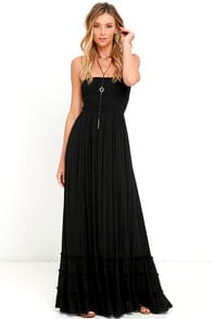 Dance Floor Darling Strapless Black Maxi Dress at Lulus.com!