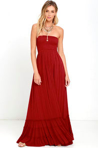 Dance Floor Darling Strapless Wine Red Maxi Dress at Lulus.com!
