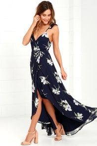 All Mine Navy Blue Floral Print High-Low Wrap Dress at Lulus.com!