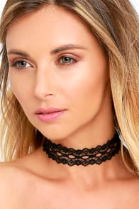 Vanessa Mooney Wistful Wishes Black Lace Choker Necklace at Lulus.com!