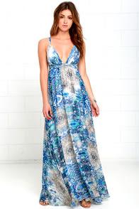 Happy Hues Blue Print Maxi Dress at Lulus.com!