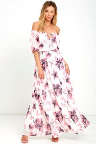 Infinite Love Ivory Floral Print Off-the-Shoulder Maxi Dress at Lulus.com!