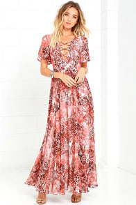 Time to Celebrate Blush Pink Print Maxi Dress at Lulus.com!