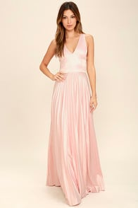 Epic Night Blush Pink Satin Maxi Dress at Lulus.com!