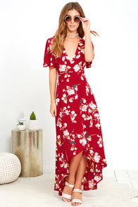 Flora Belle Wine Red Floral Print High-Low Wrap Dress at Lulus.com!