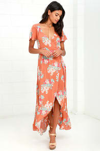 Always in Bloom Burnt Orange Floral Print High-Low Wrap Dress at Lulus.com!