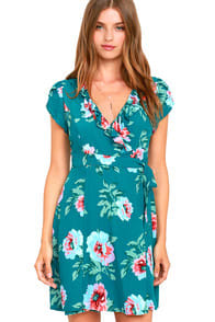 Mink Pink Pretty Primrose Teal Blue Floral Print Wrap Dress at Lulus.com!