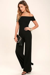 Alleyoop Black Off-the-Shoulder Jumpsuit at Lulus.com!