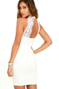 Endlessly Alluring White Lace Bodycon Dress at Lulus.com!