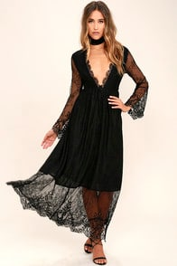 Glamorous Twilight Hour Black Lace Maxi Dress at Lulus.com!