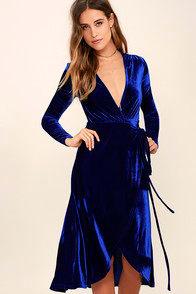 Enchant Me Cobalt Blue Velvet Midi Wrap Dress at Lulus.com!