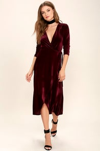 Enchant Me Burgundy Velvet Midi Wrap Dress at Lulus.com!