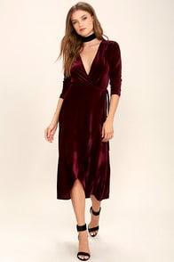 Enchant Me Burgundy Velvet Midi Wrap Dress at Lulus.com!