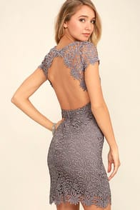Hidden Talent Backless Grey Lace Dress at Lulus.com!