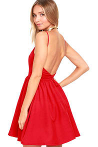 Chic Freely Red Backless Skater Dress at Lulus.com!