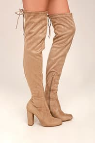 SO MUCH YES TAUPE SUEDE OVER THE KNEE BOOTS at Lulus.com!