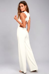 Thinking Out Loud White Backless Jumpsuit at Lulus.com!