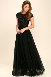 L'amour Black Sequin Maxi Dress at Lulus.com!