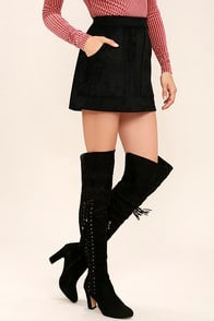 Dolores Black Suede Lace-Up Over the Knee Boots at Lulus.com!