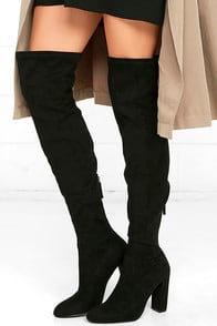 STEVE MADDEN EMOTIONS BLACK SUEDE OVER THE KNEE BOOTS at Lulus.com!