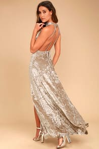 Sway My Options Taupe Velvet Maxi Dress at Lulus.com!
