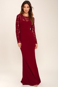 Whenever You Call Wine Red Lace Maxi Dress at Lulus.com!