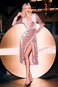 Enchant Me Blush Velvet Midi Wrap Dress at Lulus.com!