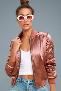 RUN THIS CITY RUSTY ROSE SATIN BOMBER JACKET at Lulus.com!