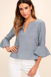 TAKE ME SOMEWHERE BLUE AND WHITE STRIPED TOP at Lulus.com!