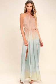 SWEET SUNSET BLUSH PINK DIP-DYE MAXI DRESS at Lulus.com!