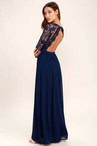 AWAKEN MY LOVE NAVY BLUE LONG SLEEVE LACE MAXI DRESS at Lulus.com!